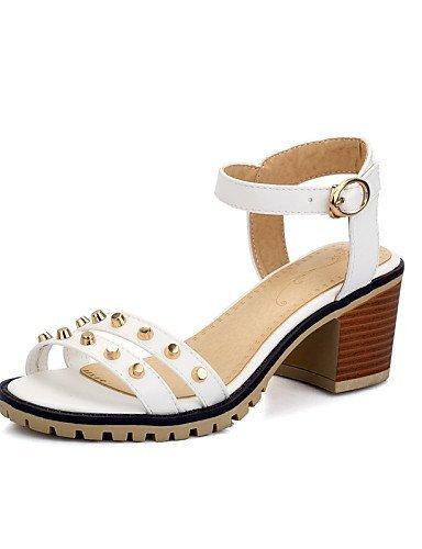ShangYi Womens Shoes Chunky Heel Open Toe Sandals Dress Black / Blue / Pink / White Pink