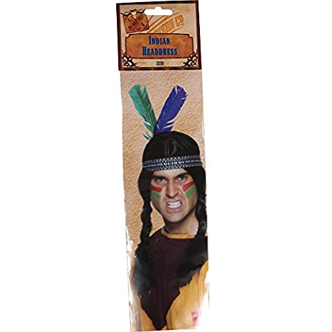 Smiffy's Men's Native American Indian Headband, 2 feathers, Multi-Coloured, One size, 22291 - Native American Indian Feathers