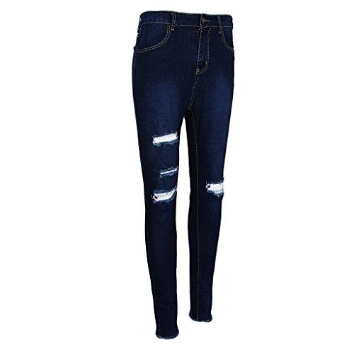 P Prettyia Elastique bleu Denim Taille fonc Longue Jeans Femme Haute Dchirs Pantalon Casual rUrfAv