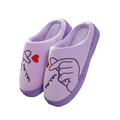 Purple Velvet Home Slippers Graphic Women Indoor Closed Home Memory Shoes Toe Foam 1PI4IZq