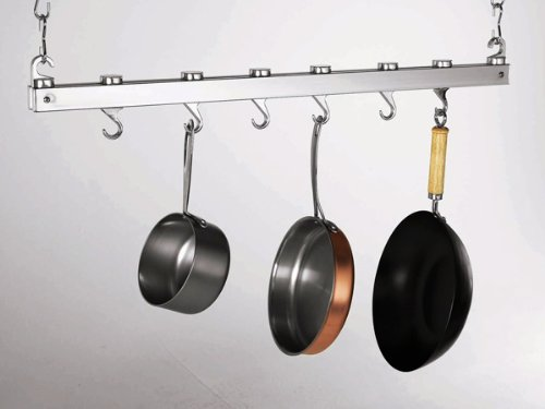 (Concept Housewares PR-40219 36 Inch Ceiling Rack Chrome Pot Rack)