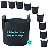 PHYEX 9-Pack 2 Gallon Nonwoven Grow Bags, Aeration Fabric Pots with Durable Handles, Come with 9 Pcs Plant Labels