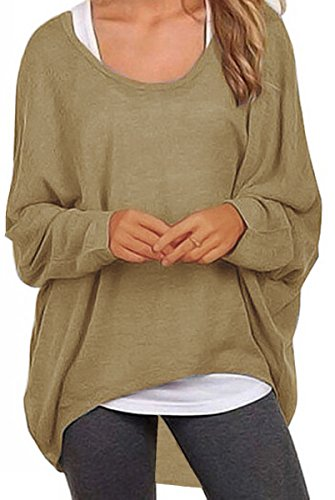 UGET Women's Sweater Casual Oversized Baggy Off-Shoulder Shirts Batwing Sleeve Pullover Shirts Tops Asia M Tan