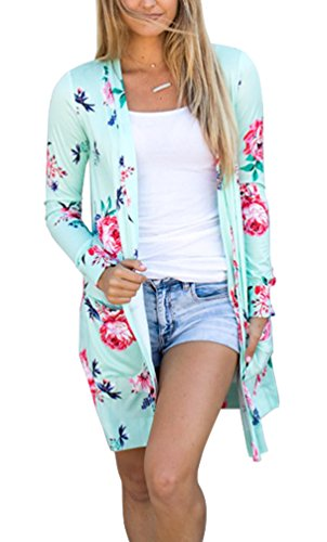 Women Cardigan Open Front Green Juniors Fashion Knit Knitted Winter Under 20 Dollars 2018 with Pockets (L, Green) (Jeans Women Sweaters Cardigans)