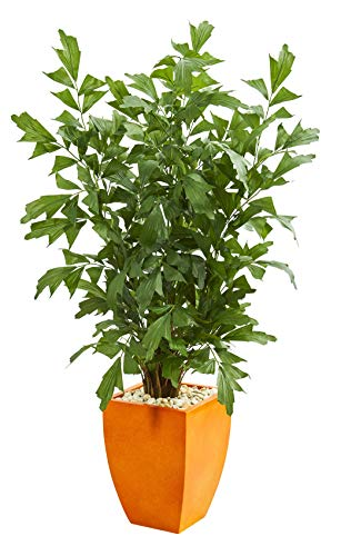 Artificial Tree -5 Foot Fishtail Palm Tree with Orange Planter
