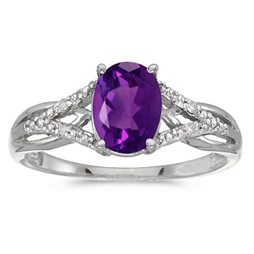 Amethyst Engagement Genuine Ring - Sonia Jewels 14k White Gold Genuine Purple Birthstone Solitaire Oval Amethyst And Diamond Wedding Engagement Ring - Size 11 - (1 Cttw.)
