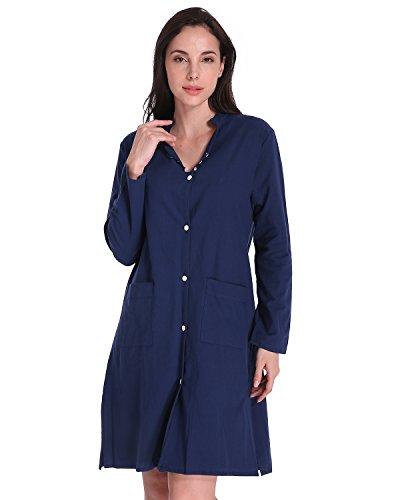 Auxo Mujer Blusas de Vestir Manga Larga Vestidos Elegante Camisas Larga V Cuello Verano Azul marino