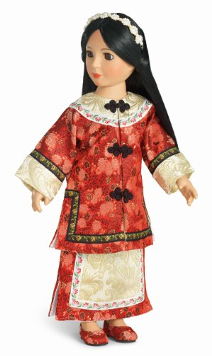 [Lotus Princess Dress & Shoes for 18 Inch Slim Carpatina Dolls] (Chinese Doll Halloween Costume)