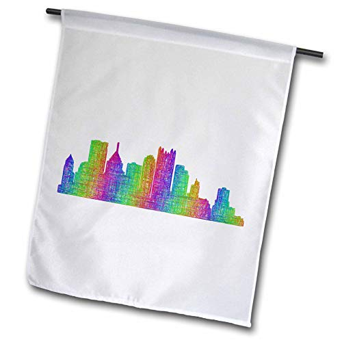 Pittsburgh City Flag (3dRose David Zydd - City Skylines - Pittsburgh City Skyline - multicolor line art - 12 x 18 inch Garden Flag (fl_287220_1))