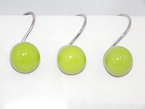 (Lime Green Orbit 12 Shower Curtain Hooks Retro Ball Bath)