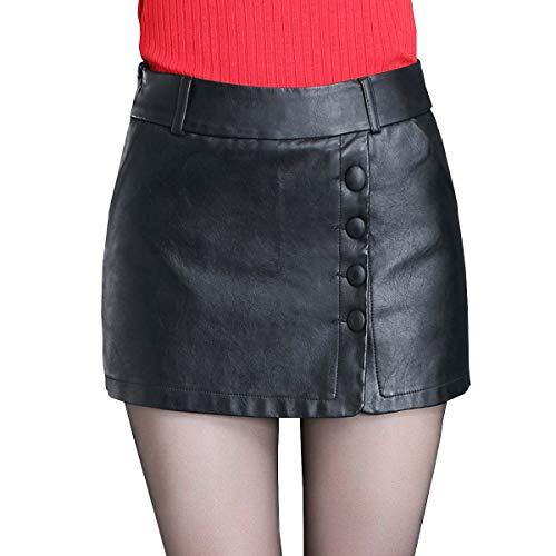 E-Girl FS532 Jupe Club Mini Short Grande Taille Cuir PU Noir