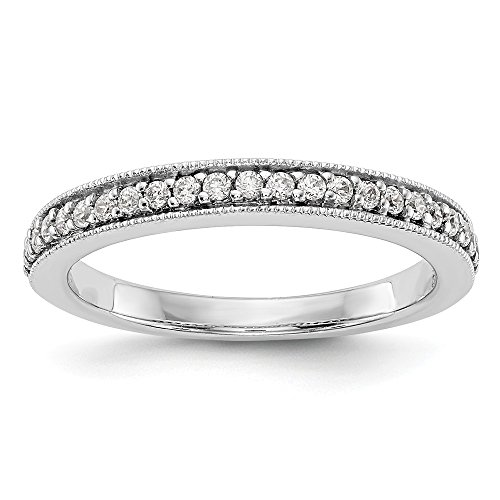 JewelrySuperMart Collection 1/6 CT 14k White Gold Round Diamond Wedding Band. 0.16 ctw. Diamond Palladium Wedding Band