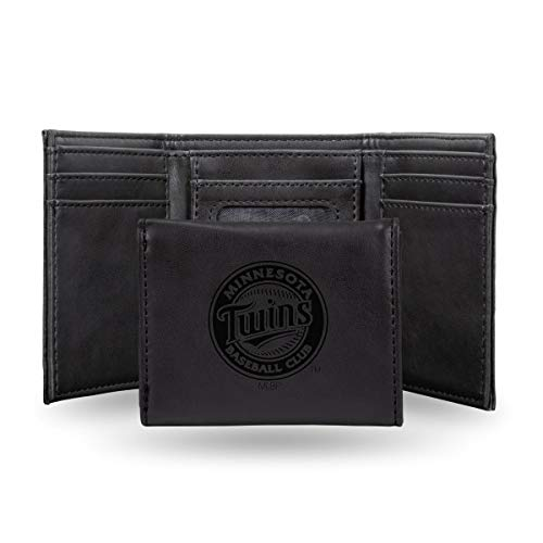 (Rico Minnesota Twins MLB Laser Engraved Black Synthetic Leather Trifold Wallet )