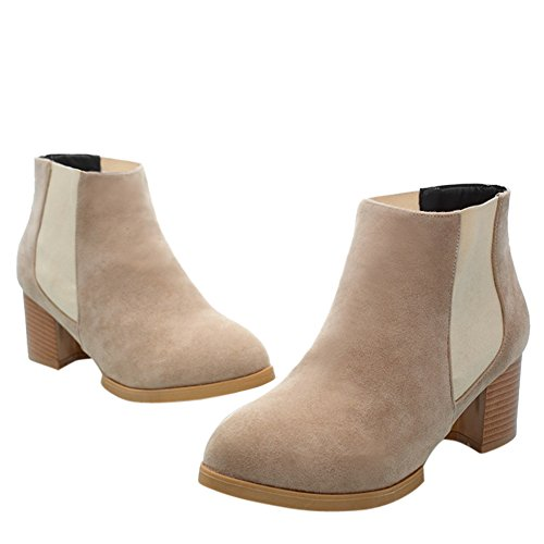 Beige Womens Ladies Heel Pull Boots Ankle On fereshte Shoes Low qSzawUdUx