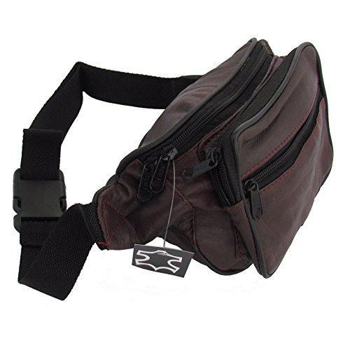Qualitäts Echt Leder Bauchtasche in Braunton mit vielen Taschen Dell1id