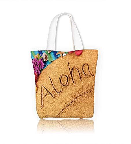 canvas tote bagAloha Hawaii beach reusable canvas bag bulk for grocery,shopping W23xH14xD7 INCH
