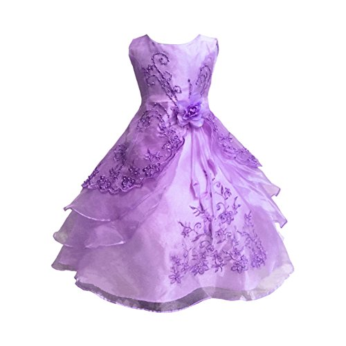 [Little/Big Girl Embroidered Beaded Flower Birthday Party Wedding Dress 3-16Years] (Flower Girl Fancy Dress Costumes)
