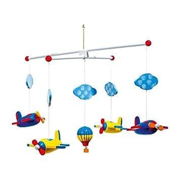 Mobile U0026quot;Luftfahrtu0026quot; Aus Holz, Bunt Lackierte Flugzeuge, Wölkchen  Und Ein Heißluftballon