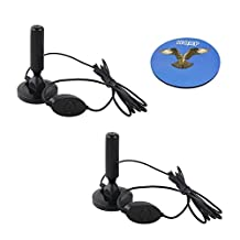HQRP 2-pack 20dB Powerful Gain Digital Freeview Antenna Aerial for DVB-T Receiver MPEG4 / MPEG2 Car DVB-T Box Digital TV tuner + HQRP Coaster