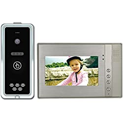 CUSAM Video Door Phone 4-Wire Video Intercom System 7-inch Color Monitor and HD Camera Video Doorbell with 9.8ft Cable, Surface Mounted Outdoor Doorbell (Picture Memory Function)
