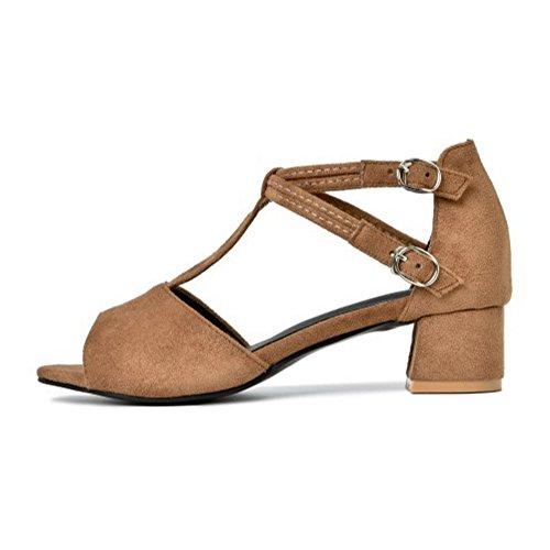 COOLCEPT Mujer Moda Correa en T Sandalias Tacon Ancho Peep Toe Zapatos Amarillo