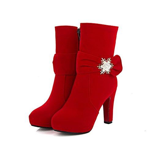 AllhqFashion Damen Reißverschluss Hoher Absatz Mattglasbirne Niedrig-Spitze Stiefel Rot