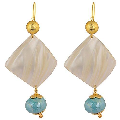 Shaze Gold Colored Blue Frost Earrings for Women by shaze