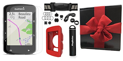 Cheap Garmin Edge 520 Plus (2018 Version) Gift Box Bundle | w/PlayBetter Silicone Case, Portable Charger & Screen Protectors | Bike Mounts | GPS Bike Computer (+Chest HRM +Speed/Cadence Sensors, Red Case)