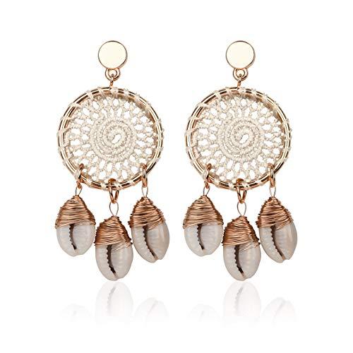 Rattan Shell Earrings Boho Chandelier Seashell Bead Drop Dangle Earrings Handmade Straw Wicker Braid Hoop Dangle Earrings for Women Girls (Round-White) ()