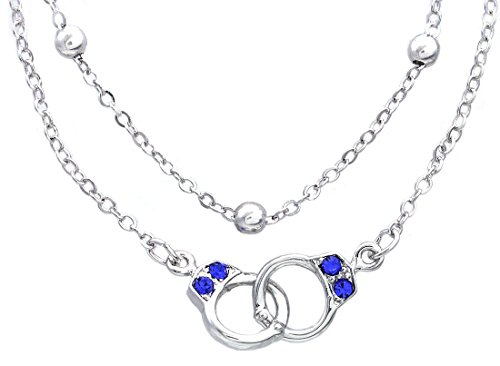 Handcuffs Anklet Ankle Bracelet Valentine's Day Gift Charm Fashion Jewelry for Women (Royal Blue)