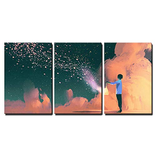 (wall26 - 3 Piece Canvas Wall Art - Man Holding a Cage with Floating Shinning Star Dust,Illustration Painting - Modern Home Decor Stretched and Framed Ready to Hang - 16