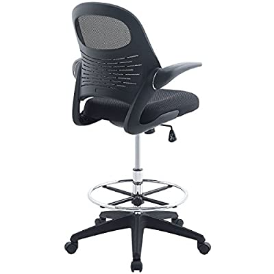 Modway Stealth Drafting Chair in Black - Reception Desk Chair - Tall Office Chair for Adjustable Standing Desks - Drafting Table Chair - Flip-up Arms