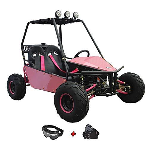 125cc Go Kart Dune Buggy Kids Gokarts Youth Dune Buggy Gas Gokart Beach Sand Rail Go Kart with Gloves and Google (Carbon Fiber Red)