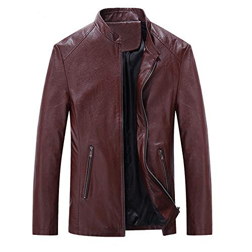 Realdo Men's Leather Jacket, Mens Fashion Vintage Biker Motorcycle Leather Zipper Jacket Coat(Large,Red) ()