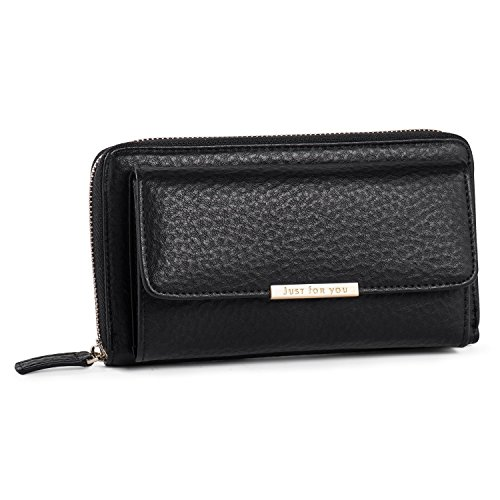 Crossbody Wallet Cellphone Purse for Women Clutch Handbag PU Leather Cross Body Bag with Flap Multi Compartment for Cards Cash Smartphone Black + Katloo Nail Clipper by Katloo