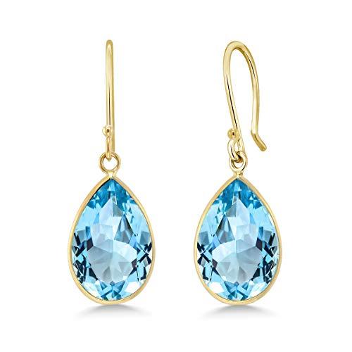 (Gem Stone King 13.00 Ct 14K Yellow Gold Blue Topaz Pear Shape 10x15mm)