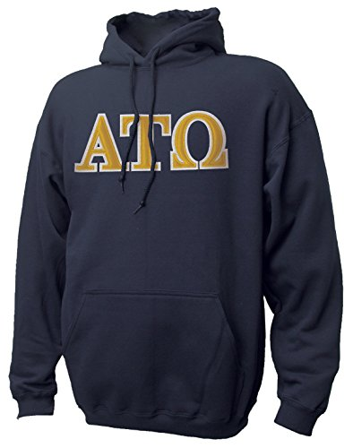 Greek Sewn On Letters - Campus Classics Alpha Tau Omega Hooded Sweatshirt with Sewn On Greek Letters Large Navy