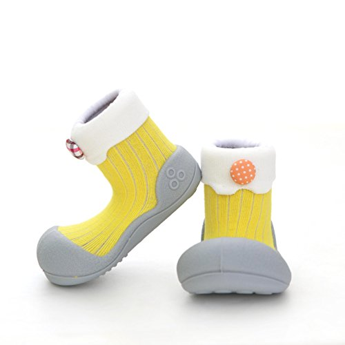 Attipas Best First Walker Shoes Baby Cotton Socks Shoes Non Toxic Safe Great Baby Registry Gifts (US Toddler 4.5, Lollipop Yellow) (The Girl With Brains In Her Feet)