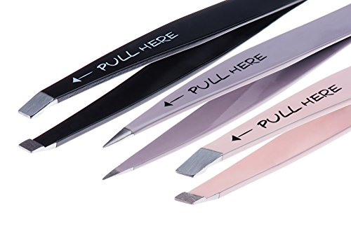 Alln'Box Precision Tweezers Set: Pointed, Slanted, and Flat with Silicone Tip Covers, Case, and Compact Mirror for Superb Grip and Skin Pinch-Free Use