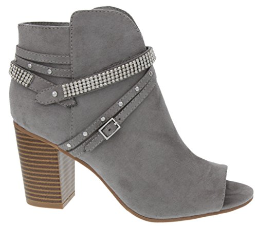 Buckles Sugar Straps Women's Heel Boot Toe Block with Ankle Studs Dress and Peep Grey Mainstay Bootie Ladies OAyOqZ4r