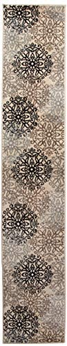 Superior Elegant Leigh Collection Area Rug, 8mm Pile Height with Jute Backing, Chic Contemporary Floral Medallion Pattern, Anti-Static, Water-Repellent Rugs – Beige, 2 x 11 Runner Rug