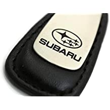 Subaru Leather Key Chain Black Tear Drop Key Ring Fob Lanyard WRX Sti