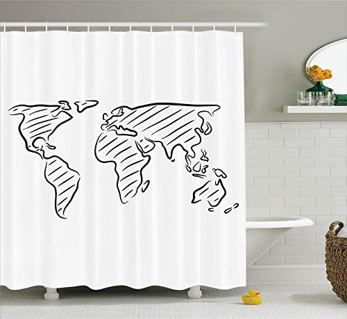 Ambesonne World Map Shower Curtain, Illustration of Outline Sketch of The World Map in Drawing Effect Artwork Print, Cloth Fabric Bathroom Decor Set with Hooks, 70