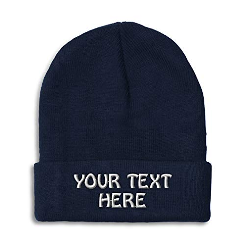 Winter Hat Beanie for Men & Women Custom Personalized Text Name Embroidery Acrylic Skull Cap Hat Navy (Name Of The Hat In Harry Potter)