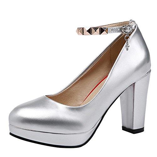 Carolbar Womens Cinturino Alla Caviglia Spikes Party High Heels Mary Janes Scarpe Argento