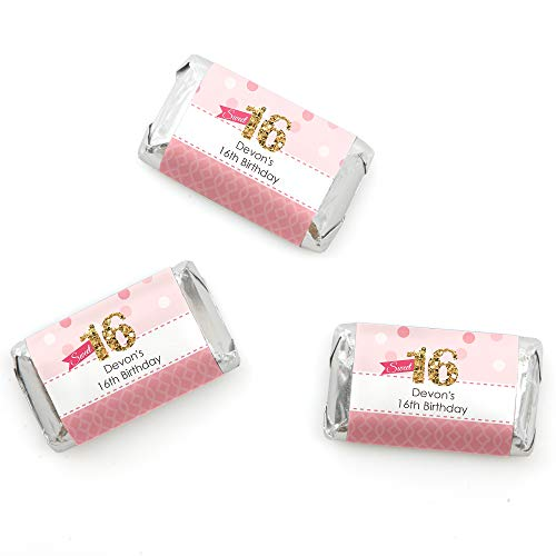 Big Dot of Happiness Custom Sweet 16 - Personalized 16th Birthday Party Favors Mini Candy Bar Wrappers - 20 Count