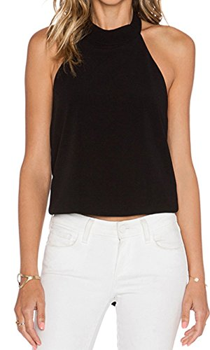 FAVOLOOK Women Sexy Backless Crop Tops Halterneck Tank Cami Black Size XL (Crop Top Open Front)