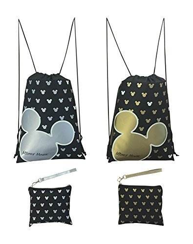 Disney Mickey Mouse Glow in the Dark Drawstring Backpack Pack of 4 (Varied) Includes 2 Drawstrings and 2 ()