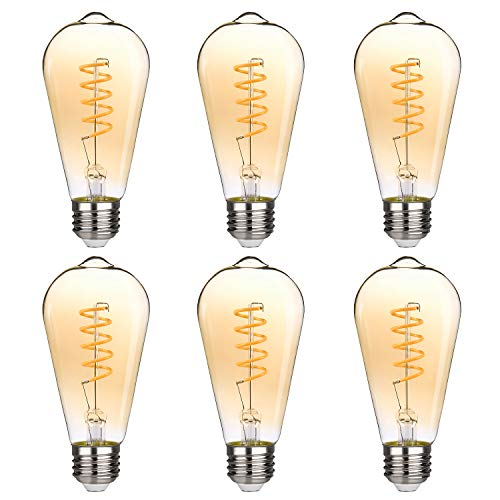 Dimmable Edison LED Bulb, Warm Yellow 2200K, 270LM, 4.5W Vintage ST64/ST19 LED Filament Light Bulb, 40W Equivalent, E26 Base, Amber Glass (6 Pack)
