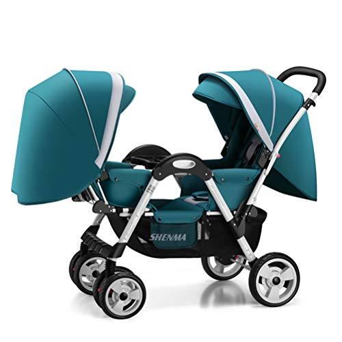 ZZLYY Double Baby Stroller by – Twin Lightweight Infant Stroller with Carry Handle – Travel Stroller – Tandem Seats,Green
